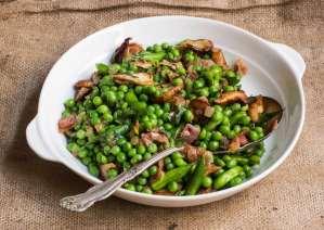Peas with porcini, radish snaps and prosciutto_