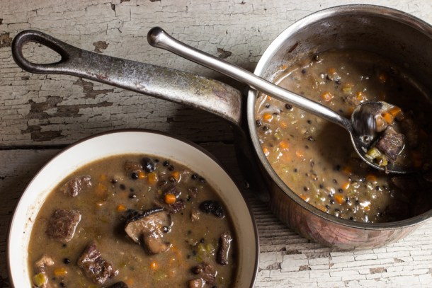 Bison-Black Barley Stew, With Fried Chicken Mushrooms-5