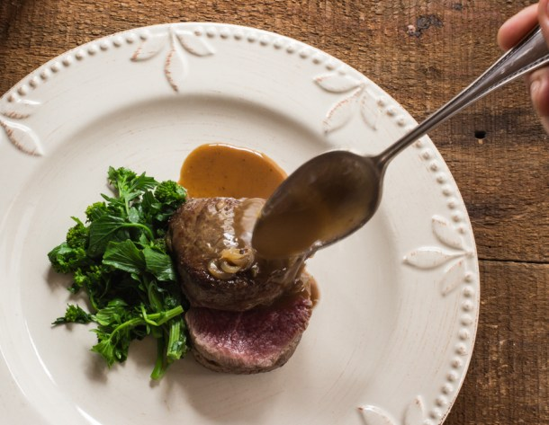 Bison Tenderloin with wintercress buds and anchovy sauce