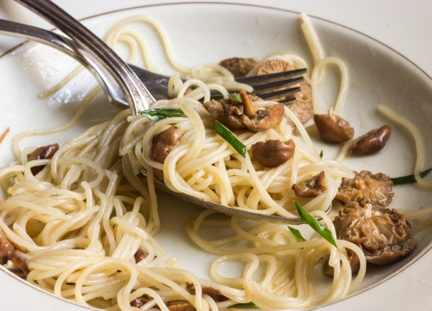Angel hair pasta with fairy ring mushrooms and garlic chives