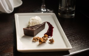 Flourless chocolate torte scented with black walnuts