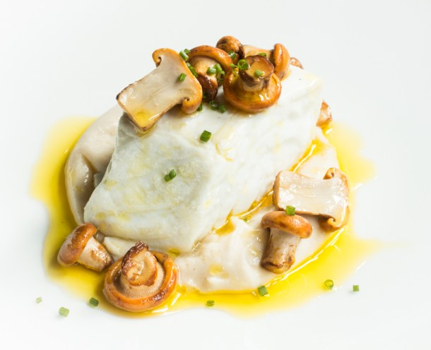 Braised Halibut with White Bean Puree Acorn Oil and Chanterelles