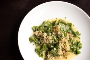 Cauliflower mushrooms with dandelion farfalle