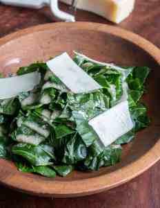Steamed broccoli leaf salad.