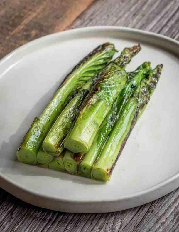 Seared edible hosta shoots
