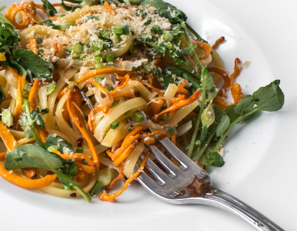 Linguine with cordyceps, watercress, and chives