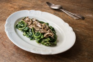 Asparagus and fiddleheads with shaved dryad saddle mushrooms recipe