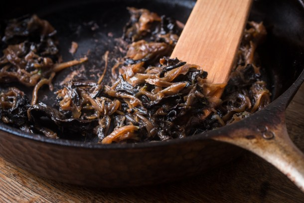 Caramelized Shallots and Black Trumpet Mushrooms