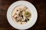 White pheasant stew with chanterelles, black trumpet mushrooms and heirloom Wisconsin rice