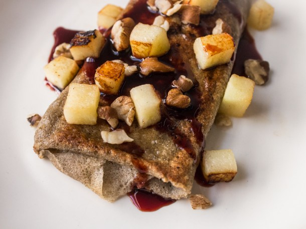 Wild Rice Crepes with Cream Cheese and Chokeberry Syrup