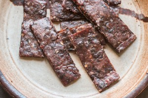 Ground venison or deer jerky with serviceberries recipe