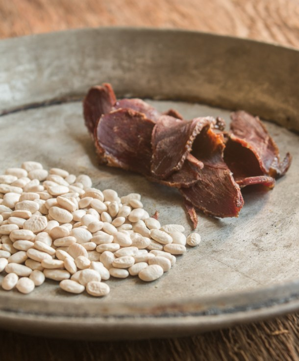 Tepary beans and dried, smoked goose for soup