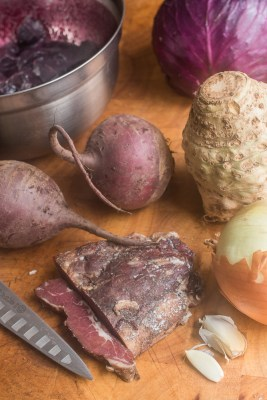 Wild game borcht with venison, canadian goose, wild grape juice, wild caraway, and dill recipe, Wild game borcht with venison, canadian goose, wild grape juice, wild caraway, and dill recipe,