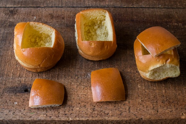 Brioche buns filled with creamed morel mushrooms