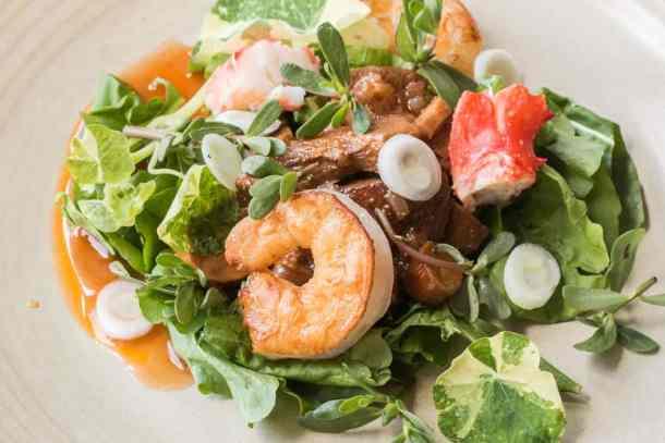 Seafood salad with arugula and marinated lactifluus volemus milkcap mushrooms (4)
