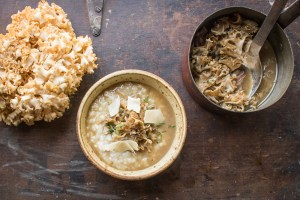 white risotto with cauliflower or sparassis mushroom ragu