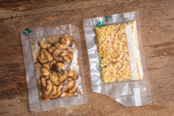 King oyster mushrooms and shiitakes fermenting in vacuum bags