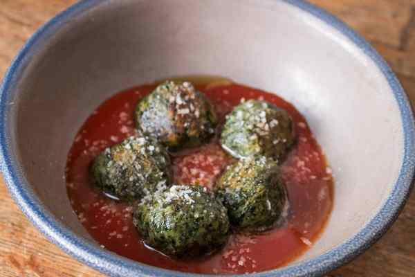 Gnudi dumplings made with foraged greens recipe