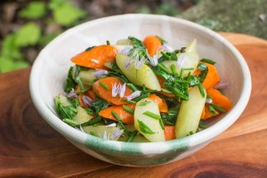 Sauteed burdock flower stalks and carrots with herbs recipe