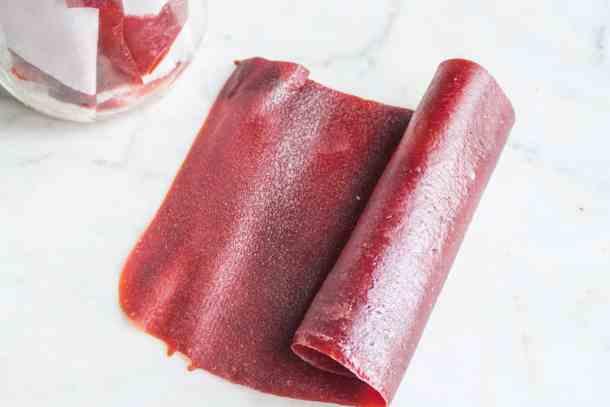 Tkelapi or wild plum leather made from Prunus americana, American wild plums