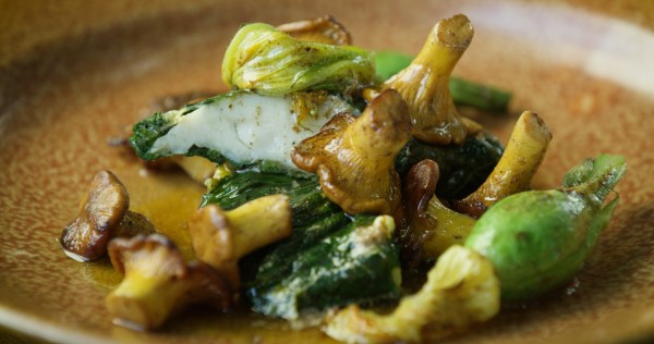 Walleye Wrapped in Vine Leaves with Chanterelles. Image by Jesse Roesler.