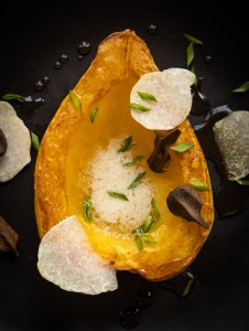 Squash with Truffled Maple Syrup, Honey Truffles and Butternuts