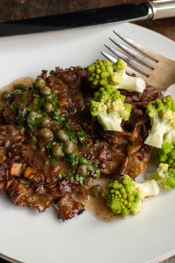 Cauliflower mushroom steak recipe with caper pan sauce and romanesco