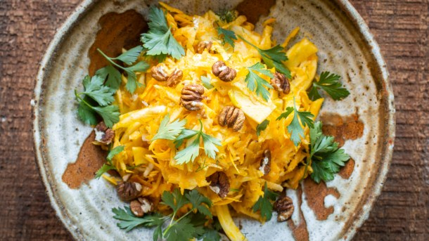 Fennel and Celery Root Slaw with Acorn Oil
