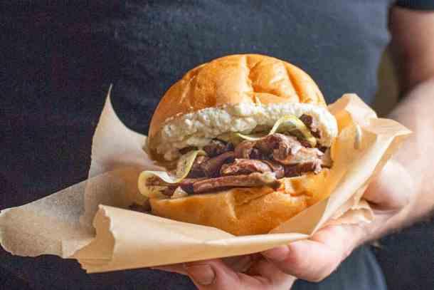 Venison heart confit sandwich like vastedda palermitana