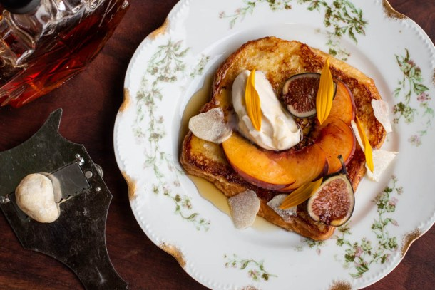 French toast with honey truffles, peaches and creme fraiche