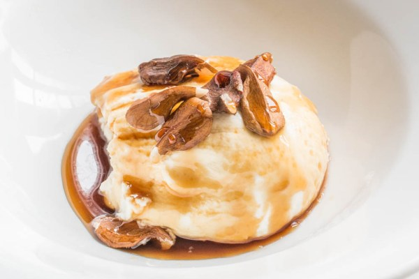 Labneh with butternuts and pine cone syrup