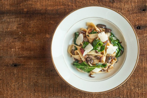 Tuscan fettucine with squirrel or rabbit giblets, bacon and spinach recipe