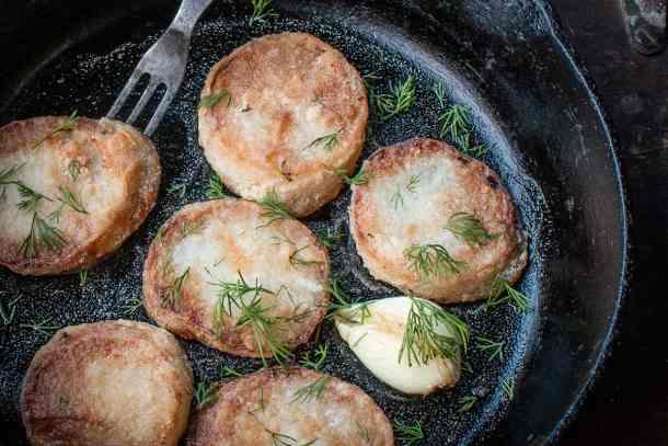 Blanched and fried daikon radish recipe