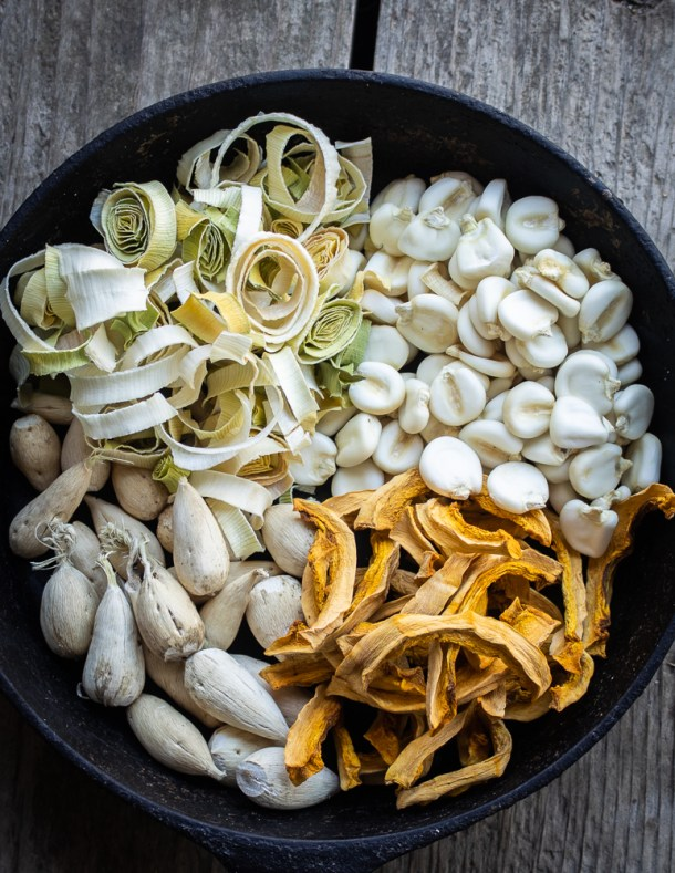 dried timpsila or prairie turnips, hominy, squash and leeks