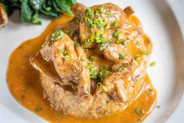 Meatloaf Steaks with Hedgehog Mushroom Sauce Recipe