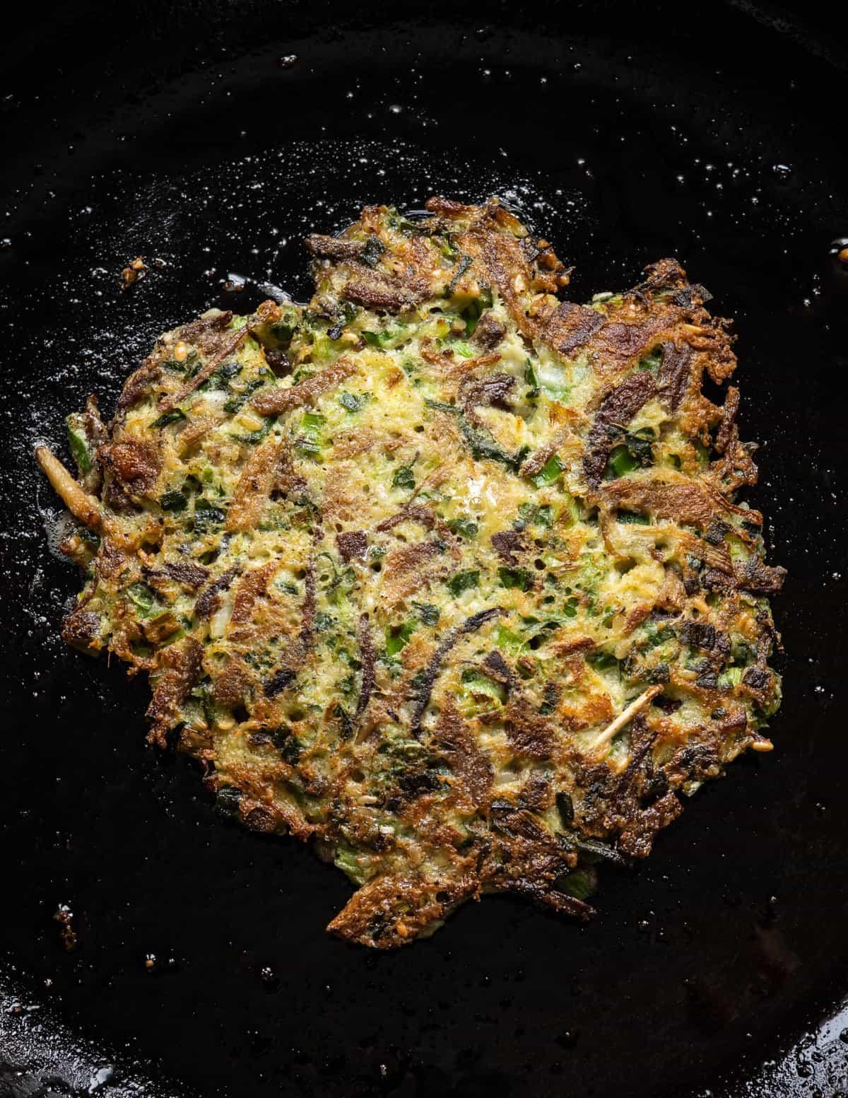 sesame enoki mushroom pancake