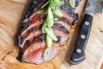 Blackened venison flank steak