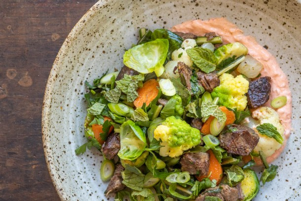 Venison shoulder hash with vegetables and spicy sour cream