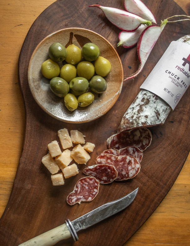 Antipasti with green Kentucky coffee beans