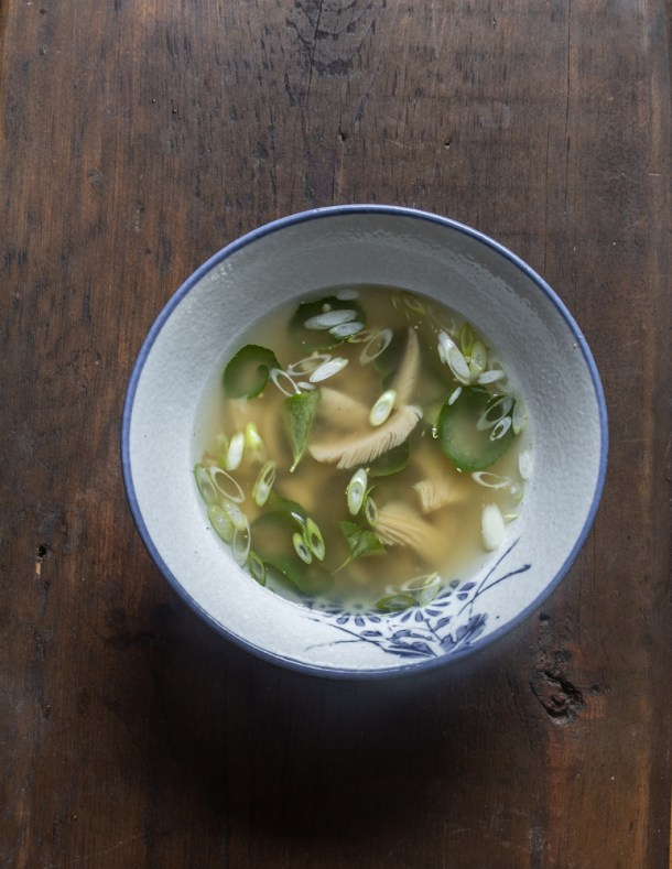 Miso soup with Amanita muscaria fermented mushroom pickles
