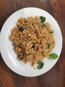 Plantain and garlic mustard risotto