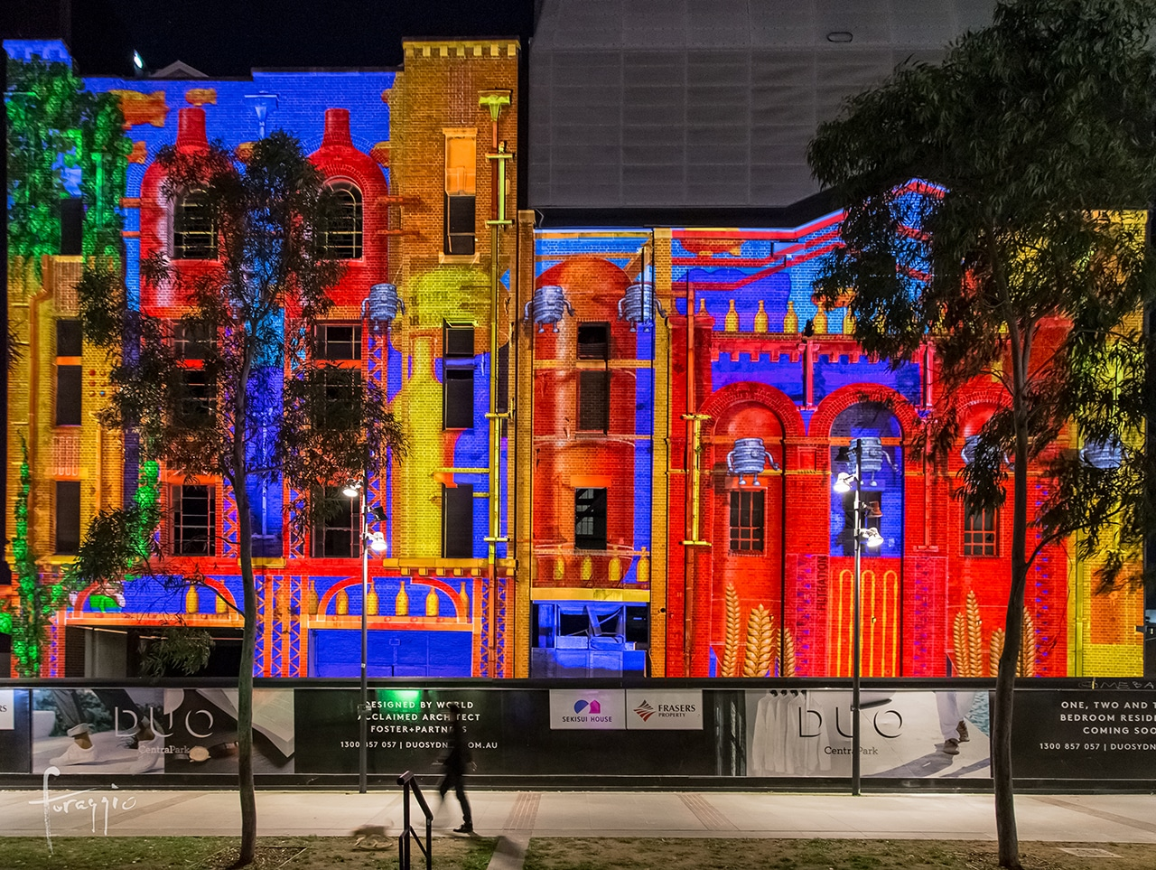 The old brewery at Central Park, Sydney, during Vivid Festival 2016 | Foraggio Photographic