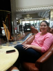 Relaxing in the lobby