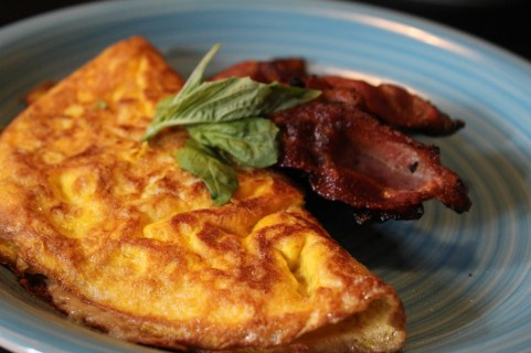 Basil and Cheese Omelet with Whisky Bacon
