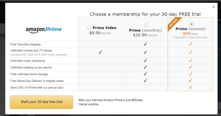 amazon prime fee table