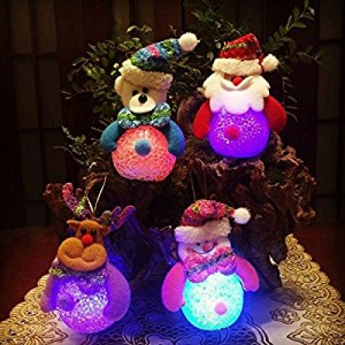 4 pack 2017 Best Funny Colorful LED Gold Christmas Trees Vintage Blend Lights Set Ornament Accessories Cute Christmas for Kids...
