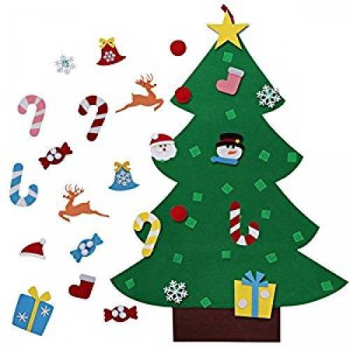 AerWo 3ft DIY Felt Christmas Tree Set + 26pcs Detachable Ornaments, Wall Hanging Xmas Gifts for Christmas Decorations