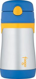 THERMOS FOOGO Vacuum Insulated Stainless Steel 10-Ounce Straw Bottle, Blue/Yellow
