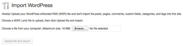 WordPress Tools Import XML