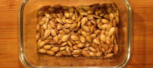 Pumpkin seeds in a dish